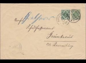 Württemberg: Ganzsachenumschlag von Aulendorf nach Grünkraut 1901