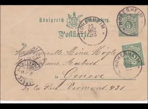 Württemberg: Ganzsache von Hohenheim nach Genf 1892