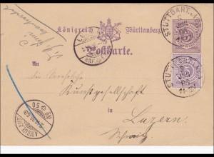 Württemberg: Ganzsache von Stuttgart nach Luzern 1866