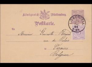 Württemberg: Ganzsache von Liebenzell nach Belgien 1884