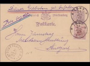 Württemberg: Ganzsache von Isny nach Stuttgart - Bote bezahlt