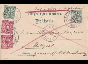 Württemberg: Ganzsache von Canstatt nach Stuttgart - Bote bezahlt 1893