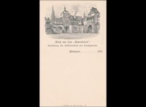 """Württemberg: Ganzsache """"Gruss aus dem Gewerbedorf Stuttgart 1896"""""""