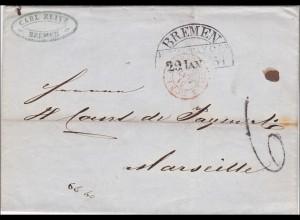 Brief 1854: Bremen nach Marseille
