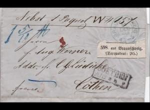 Brief von Braunschweig nach Cöthen