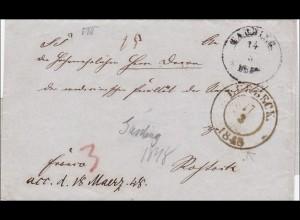 Brief von Hamburg nach Rostock 1848