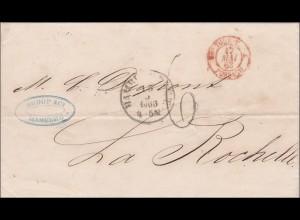 Brief von Hamburg nach La Rochelle 1863