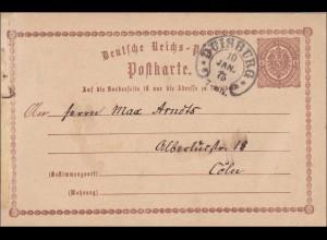 Karte von Duisburg nach Köln 10.1.1875