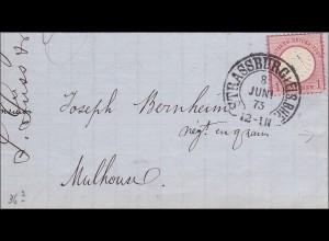 Brief von Strassburg nach Mühlhausen 1873