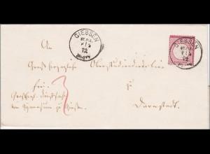 Brief von Giessen nach Darmstadt 1872