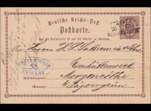 Postkarte von Zwickau nach Eisenhüttenwerk Morgenröthe 1873