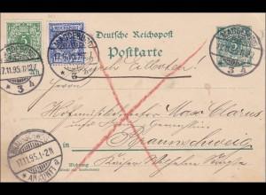 Ganzsache von Magdeburg nach Braunschweig 1895