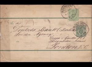 Brief von Oldenburg nach London 1885