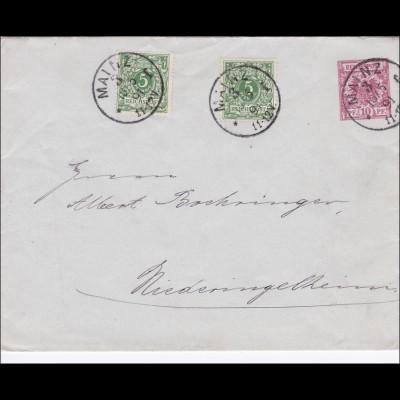 Ganzsacheumschlag von Mainz nach Niederingelheim 1891