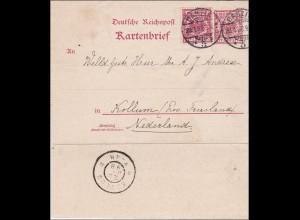 Kartenbrief von Danzig nach Holland 1893