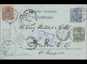 Germania: Ganzsache von Coblenz nach London und zurück 1900