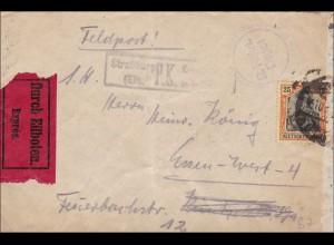 Germania: Feldpost - Eilboten von Straßburg nach Essen 1917