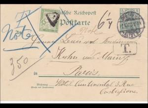 Germania: Ganzsache von Dresden nach Paris 1900