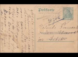 Germania: Ganzsache Gulco nach Libek und zurück /Briefträgerstempel - erfolglos