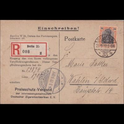 Germania: Postkarte als Einschreiben von Berlin nach Wahlen 1919