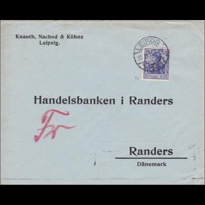 Germania: Brief von Leipzig nach Randers in Dänemark 1915