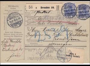 Germania: Paketkarte von Dresden nach Norwegen 1910