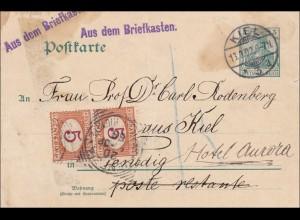 Germania: Postkarte-aus dem Briefkasten-von Kiel nach Venedig - Nachgebühr 1902