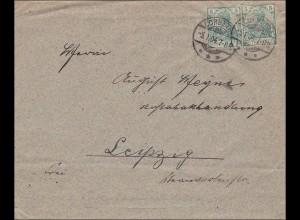 Germania: Brief mit ausgeschnittenen Marken von Korbetha nach Leipzig 1904