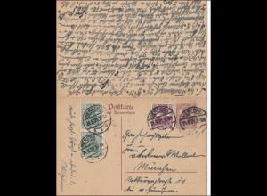 Germania: Postkarte Antwort P117 von Herford nach München und zurück 1921