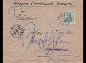 Germania: Brief von Barmen mit Nach-Taxe 1910