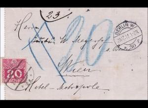 Germania: Brief von Berlin nach Wien mit Nachgebühr 1911