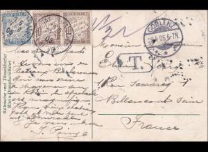Germania:Ansichtskarte Mäuseturm/Dampfer Barbarossa Koblenz nach Frankreich