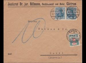 Germania: Brief Justitzrat von Güstrow nach Basel 1920 - Nachgebühr