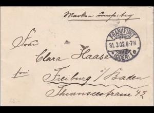 Germania: Brief von Frankfurt/Oder nach Freiburg 1902