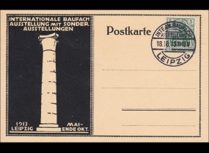 Germania: Postkarte Internationale Baufach Ausstellung 1913 in Leipzig