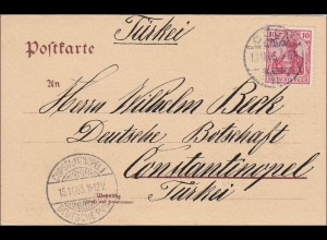 Germania: Postkarte von Köln in die Türkei 1905