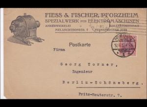 Germania: Postkarte von Pforzheim nach Berlin: Bestellung Maschine 1922