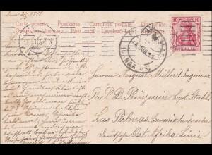 Germania: Ansichtskarte Fuhlsbüttel mit Ostafrika Linie nach Las Palmas 1911