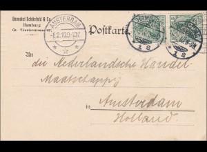 Germania: Postkarte von Hamburg nach Amsterdam 1910, Marken gelocht