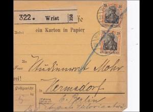 Germania: Paketkarte von Wrist nach Hermsdorf 1912, MiNr. 88I