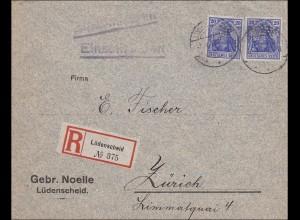 Germania: Brief von Lüdenscheid nach Zürich als Einschreiben, Marken gelocht