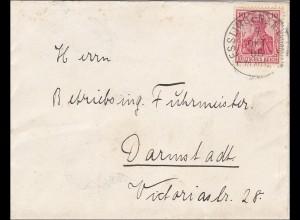 Germania: Esslingen nach Darmstadt 1906, Vignette Ausstellung Stuttgart 1896