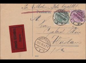 Germania: Postkarte Eilboten von Chenitz nach Werdau 1919