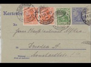 Germania: Kartenbrief von Oldenburg nach Dresden - Ganzsache 1921