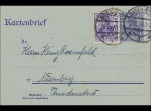Germania: Kartenbrief von Baden-Baden nach Nürnberg - Ganzsache 1920
