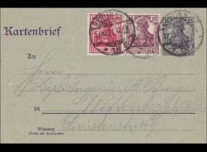 Germania: Kartenbrief Ganzsache von Berlin nach Wittenberg 1921
