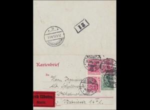 Germania: Kartenbrief Ganzsache von Berlin nach Wilhelmshaven als Eilbote 1915