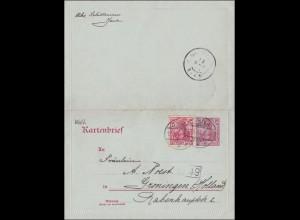 Germania: Kartenbrief Ganzsache von Jena nach Groningen Holland 1904