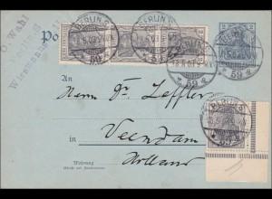 Germania: Gazsache Postkarte von Berlin nach Holland - Eckrandmarke 1903
