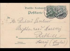 Germania: Ganzsache Postkarte von Köln nach England 1900